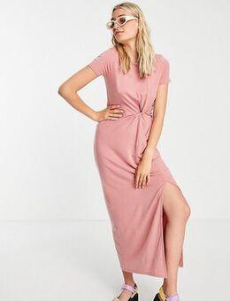Twist detail midi t-shirt dress in rose-Pink