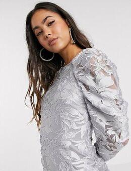 Long sleeve pleated puff sleeve burnout mini dress-Silver