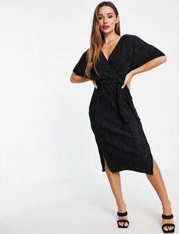 V-neck tie waist midi dress in black