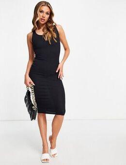 Flounce ribbed midi dress in black