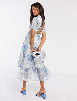 Open back midaxi dress with ruffle hem in blue print