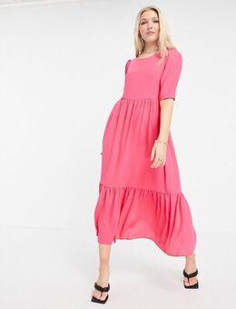 Closet Gathered Puff Sleeve Dress-Pink