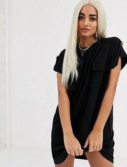 ASOS DESIGN Petite utility t-shirt dress-Black