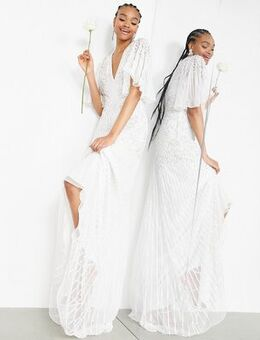 Eliza flutter sleeve embellished wedding dress-White
