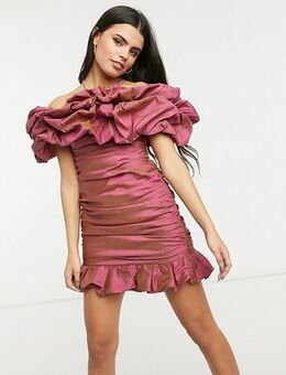 Ruffle dress in structured satin in cosmetic pink