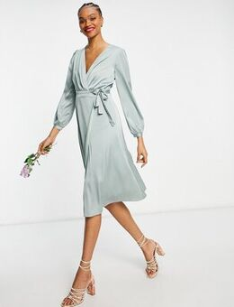 Bridesmaid long sleeve wrap front sateen midi dress with belt in sage-Green