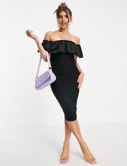 Midi bodycon dress with ruffle detail in black