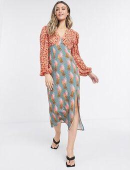Contrast midi dress with leg split in spot and sassy leopard-Multi