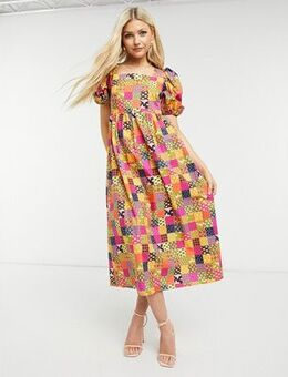 Puff sleeve smock midi dress in patchwork print-Multi