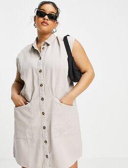 Denim shirt dress in stone-Grey