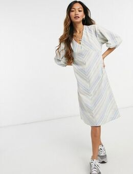 A line striped dress-Blue