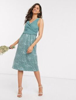 Embroidered midi dress-Blue