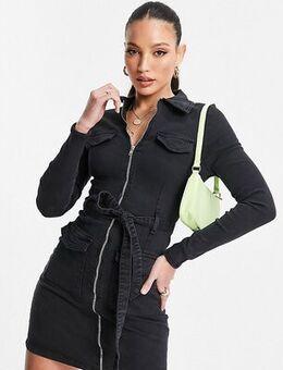 Zip through denim dress in charcoal-Grey