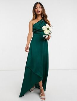 Bridesmaid one shoulder maxi dress in green