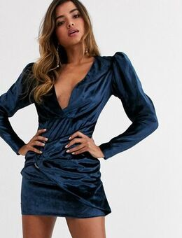 Mini dress in velvet with puff sleeve and buckle-Blue