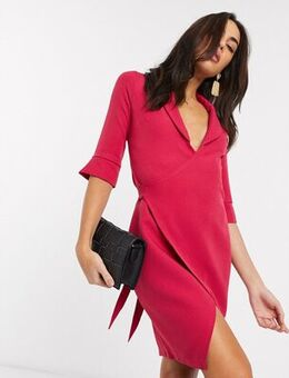 Tailored wrap dress in pink