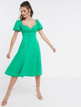 Puff sleeve prom midi dress with contrast topstitch in green