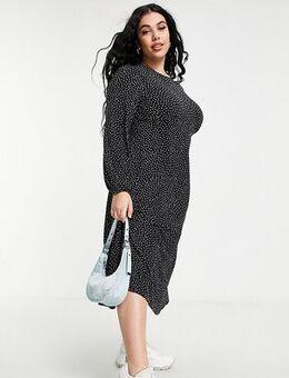 Jersey midi dress in heart print-Multi