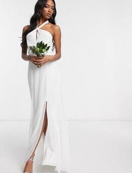 Bridal halter neck chiffon maxi dress with back detail-White