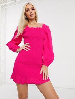 Smocked puff sleeve mini dress in fuchsia pink
