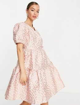 Jacquard mini smock dress in pink floral