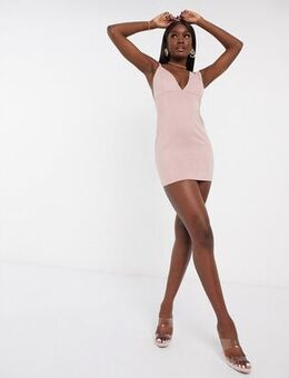 Faux suede plunge dress in pink