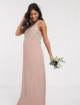 TFNC Bridesmaid Maternity scalloped lace top dress-Brown
