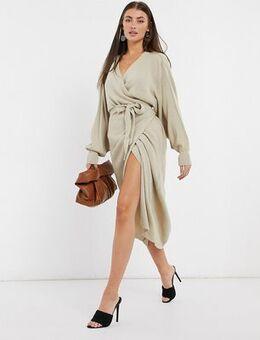 Wrap knit dress with tie waist in beige-Neutral