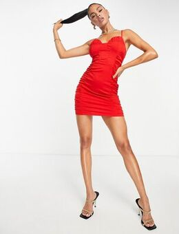 Ruched side bodycon dress in red