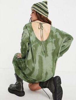 Oversized tie dye jumper in khaki-Green