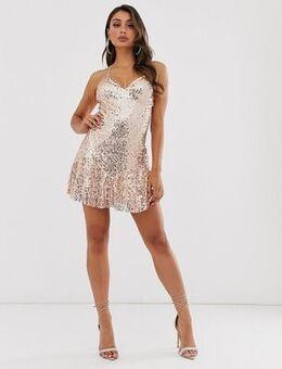 Cami stap sequin mini dress with drop hem in rose gold
