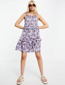 Tie up cami swing dress in floral print-Purple