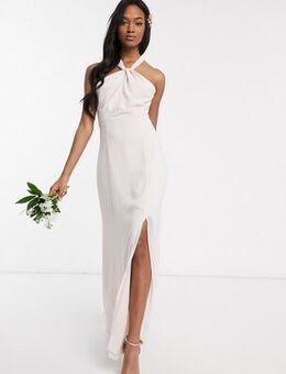 Bridesmaid halter neck chiffon maxi dress with back detail-Beige