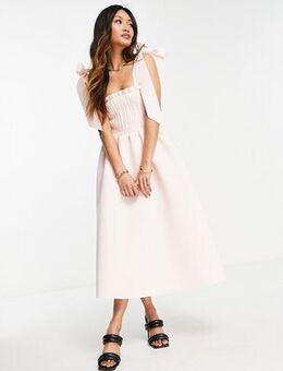 Shirred bunny tie prom midi dress in blush-Neutral
