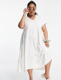 V-neck tiered midi dress in white