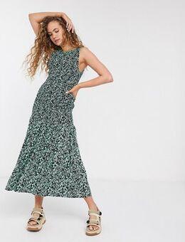 Josephine paint print shirred midi dress in green-Neutral