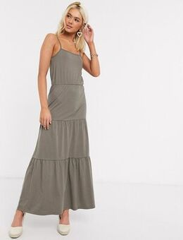 Tiered jersey maxi dress in green