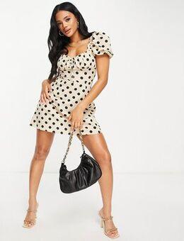 Short sleeve mini dress in cream polka-White