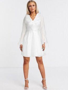Organza frill mini dress in white