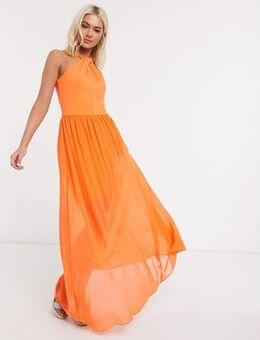 Twist halter maxi dress in orange