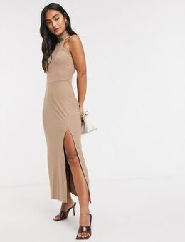 Sleeveless midi dress with roll neck and split-Brown