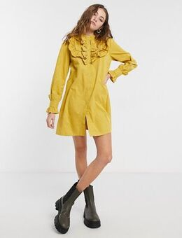 Smock dress with cuff sleeves-Yellow