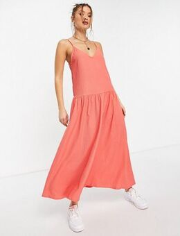 Drop waist midi cami dress in coral-Orange