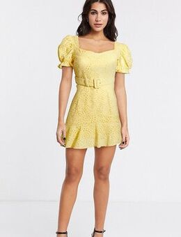 Belted sweetheart broderie mini dress with frill hem in soft yellow