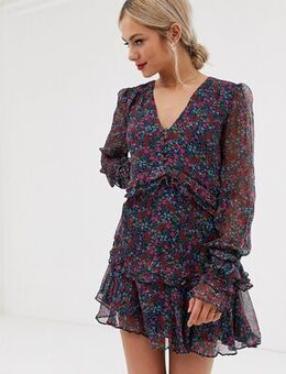 Mercy long sleeve floral mini dress-Multi