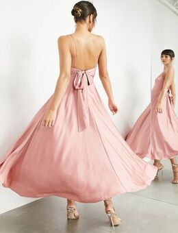 Satin midi dress with tie back in dusky rose-Pink