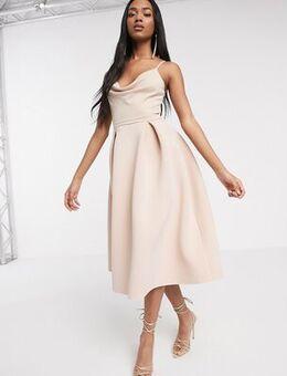 Cowl neck cami midi prom dress in rose dust-Beige