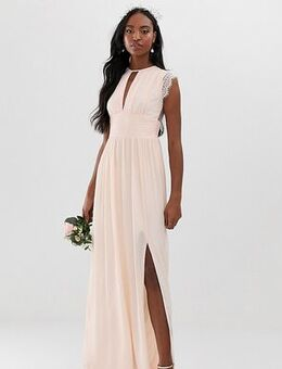 Lace detail maxi bridesmaid dress in pearl pink
