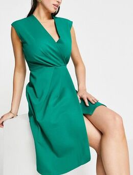 Closet pleated wrap front dress-Green