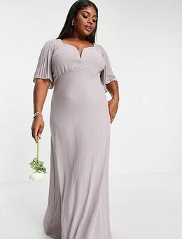 Bridesmaid sweetheart neck flutter sleeve maxi dress in grey